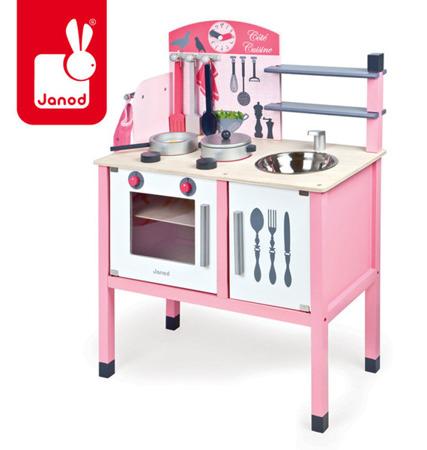 Kuchnia drewniana duża z licznymi akcesoriami, Janod - różowa dla dziewczynki