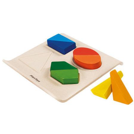 Logiczna układanka z drewna - drewniana plansza z kształtami do dopasowania Plan Toys PLTO-5645