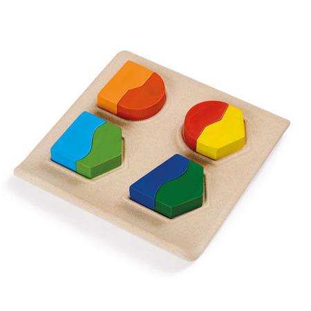 Logiczna układanka z drewna - drewniana plansza z kształtami do dopasowania Plan Toys PLTO-5647