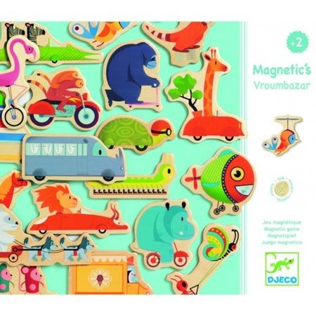 Magnesy pojazdy - magnetyczne zwierzątka w pojazdach na lodówkę, do tablicy, DJECO DJ03125