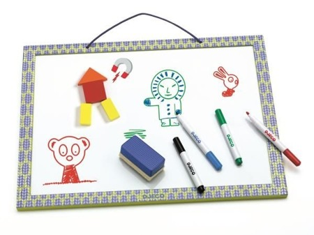Magnetyczna tablica suchościeralna z możliwością rysowania + 4 markery i gąbka, DJECO DJ03140