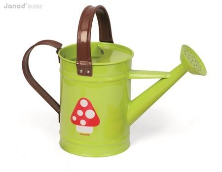 Metalowa konewka ogrodowa dla dzieci - zielona konewka z grzybkiem, Janod
