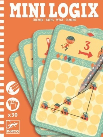 Mini gra logiczna DRÓŻKI dla dzieci - seria podróżnicza / kieszonkowa MINI LOGIX DJECO, DJ05362