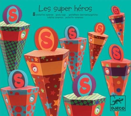 Opakowania niespodzianki na przyjęcia urodzinowe, na cukierki 8 szt SUPERHEROS, DJECO DD04761 W