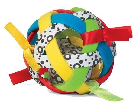 Piłka sensoryczna dla niemowlaka - kolorowa piłeczka z metkami i grzechotką, Manhattan Toy