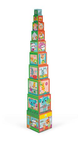 Piramida wieża 10 kostek Przyjaciele z miasta 12m+, Janod