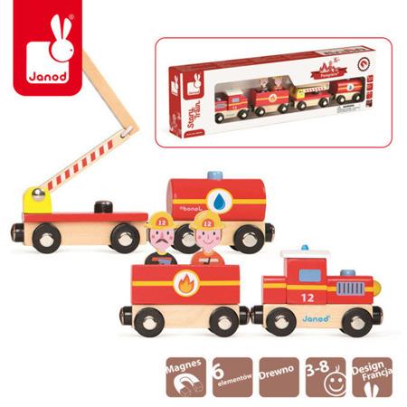 Pociąg drewniany straż pożarna - trzy wagony i dwóch strażaków, Janod
