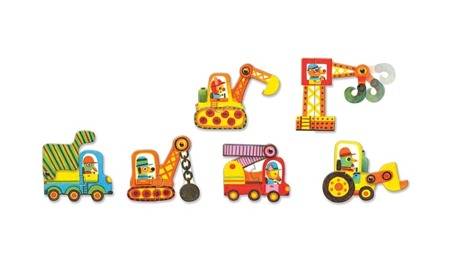 Puzzle DUO Pojazdy - puzzle dla dzieci 2+ samochody, koparki, DJECO