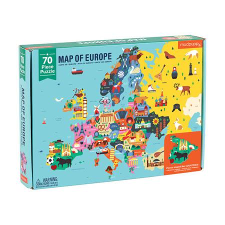 Puzzle Mapa Europy z elementami w kształcie państw 5+, Mudpuppy