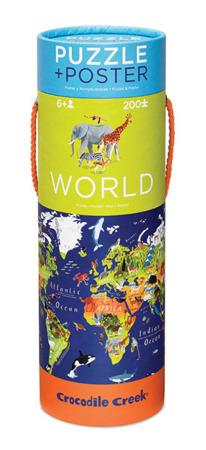 Puzzle Mapa Świata 200 elementów - puzzle w kartonowej tubie, Crocodile Creek