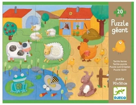 Puzzle duże 20 el. dla dzieci - puzzle Farma ze zwierzątkami z fakturami, Djeco
