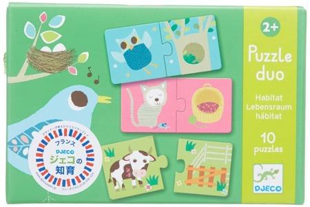 Puzzle edukacyjne DUO - puzzle zwierzęta i ich domy, gdzie mieszka zwierzątko?, DJECO