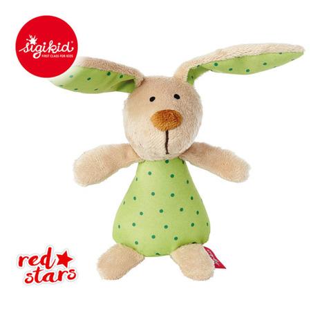 SIGIKID Miękka mini-grzechotka Zielony zajączek Red Stars