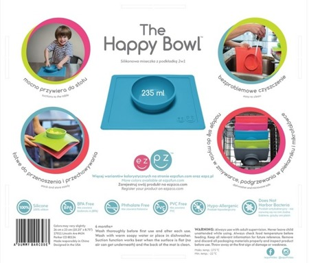 Silikonowa miseczka do jedzenia dla dzieci z podkładką 2w1 Happy Bowl różowa, EZPZ
