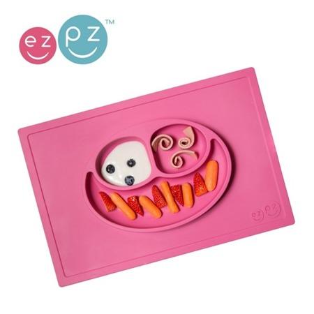 Silikonowy talerzyk dla dzieci z podkładką 2w1 Happy Mat różowy, EZPZ