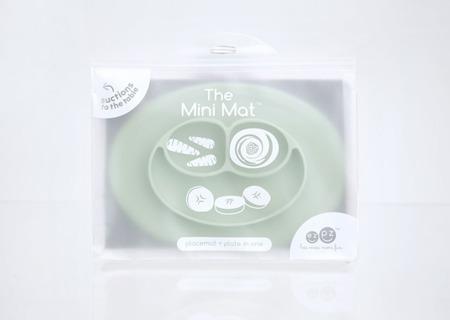 Silikonowy talerzyk z podkładką mały 2w1 Mini Mat pastelowa zieleń, EZPZ  EUMMS001