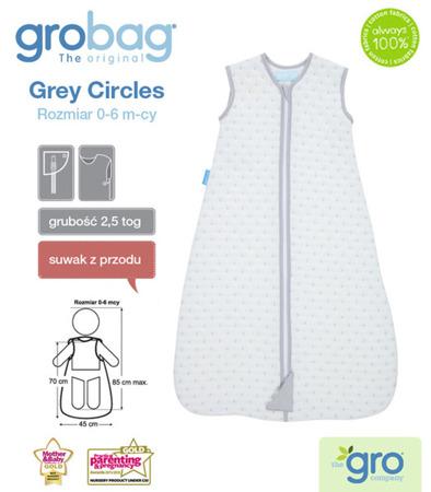 Śpiworek do spania dla noworodków i niemowląt Grobag Grey Circles o grubości 2,5 tog Jacquard, GRO Company