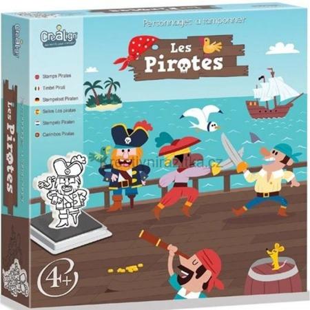 Stempelki piankowe dla dzieci - PIRACI, zestaw 10 stempelków + tusz, 4 lata +, CREA LIGN'