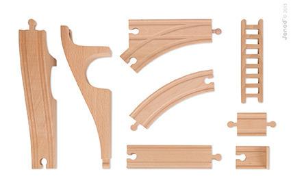 Straż pożarna kolejka drewniana zestaw 33 części, Janod