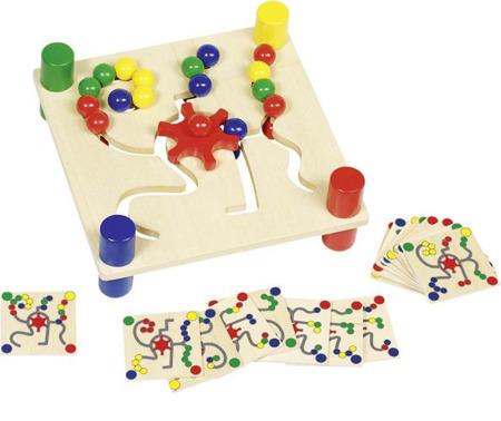 Tablica do sortowania kolorów - drewniana gra logiczna, przesuwanka GOKI, 58913