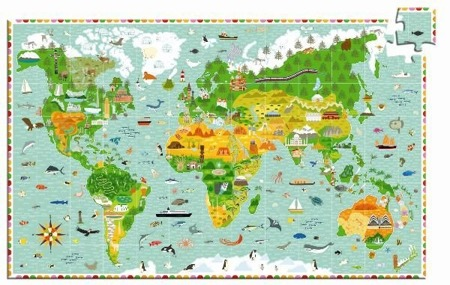 Tekturowe puzzle budowle świata 200 el. - mapa świata budowle i zwierzęta, DJECO