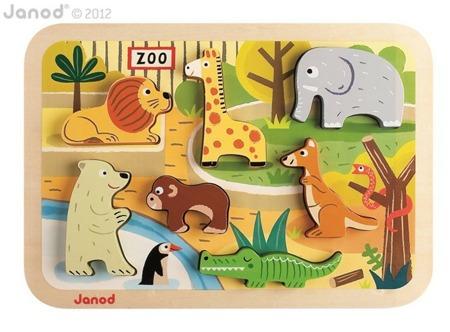 Układanka drewniana 3D Zoo - zwierzątka figurki - 7szt., Janod
