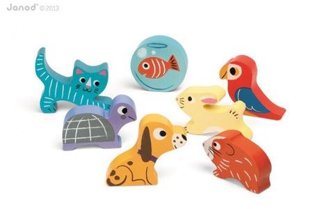 Układanka drewniana 3D Zwierzątka domowe - zwierzątka figurki - 7szt., Janod