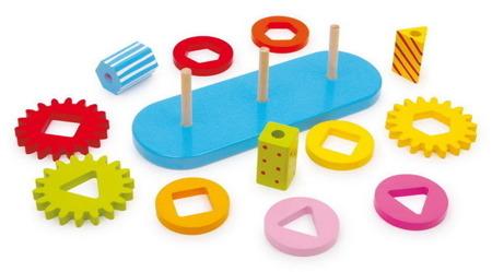 Układanka drewniane koła zębate - zabawka motoryczna dla dzieci, sorter figur, mechanika dla dzieci