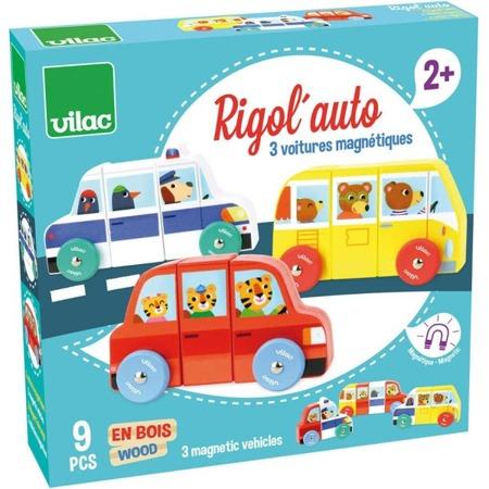 Drewniane autka magnetyczne - układanka samochody, 2 lata +, VILAC