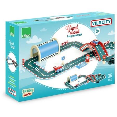 Drewniany, duży tor VILACITY, 36 elementów - szyny, samochody ,tunele, VILAC
