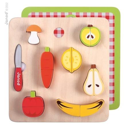 Warzywa i owoce zestaw do krojenia dla dzieci - drewniany, magnetyczny, Janod