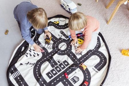 Worek na zabawki i mata do zabawy 2w1 - worek do przechowywania klocków, samochodzików itp. Mapa, Play& Go