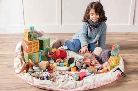 Worek na zabawki i mata do zabawy 2w1 - worek do przechowywania klocków, samochodzików itp. Różowe Romby, Play& Go