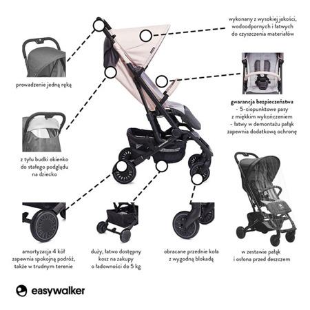 Wózek spacerowy 6 kg, kompaktowy + osłonka Monaco Apero, Easywalker Buggy XS