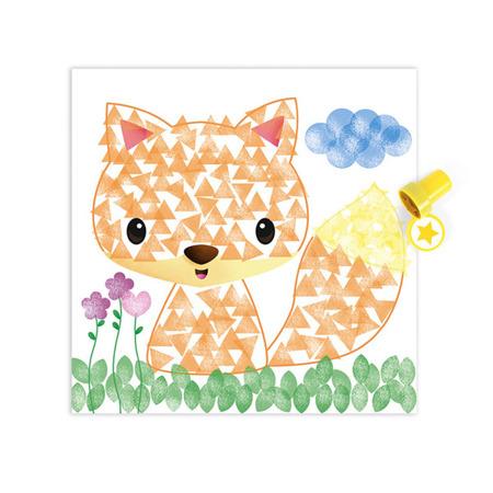 Zestaw artystyczny Stempelki Zwierzęta - 6 kart z ilustracjami do ostemplowania, Janod