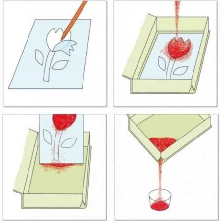 Zestaw artystyczny Tęczowe Rybki - zestaw do kolorowania sypkim piaskiem, DJECO