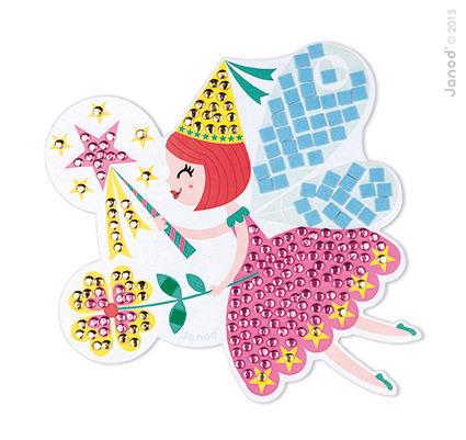 Zestaw artystyczny, kreatywny do wyklejania Mozaika Wróżki, 4 lata +, Janod