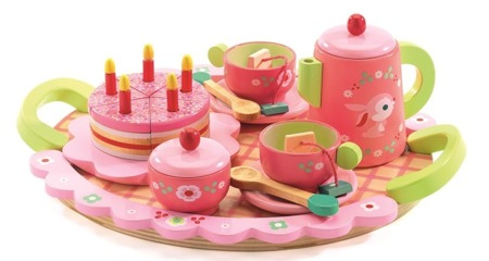 Zestaw drewniany przyjęcie urodzinowe - zestaw tor, taca, dzbanek, filiżanki dla dzieci, DJECO