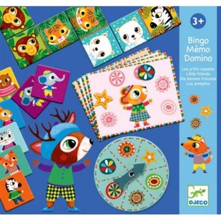 Zestaw gier dla dzieci - bingo, memo, domino. Komplet gier ze zwierzętami, DJECO