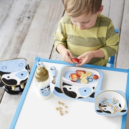 Zestaw jedzeniowy dla dzieci talerz dzielony + miska - naczynia dla maluchów Zoo Krowa, SKIP HOP