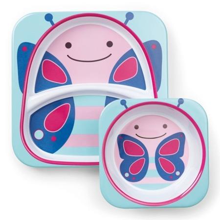 Zestaw jedzeniowy dla dzieci talerz dzielony + miska - naczynia dla maluchów Zoo Motyl, SKIP HOP