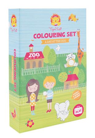 Zestaw kreatywny Dzień w Zoo - kolorowanki zwierzęta, naklejki i akcesoria, Tiger Tribe TT-60214