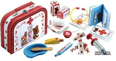 Zestaw małego weterynarza - drewniany zestaw w walizce do leczenia misiów i piesków, DJECO