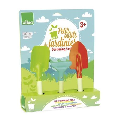 Zestaw narzędzi ogrodniczych dla dzieci - 3 el. łopatki + grabie, VILAC